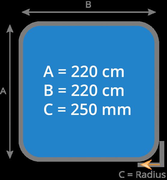 Cover - Isolierabdeckung Whirlpool 220 x 220 cm - Radius 250 mm