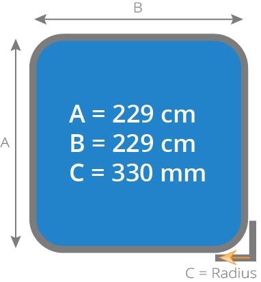Cover - Isolierabdeckung Whirlpool 229 x 229 cm - Radius 330 mm