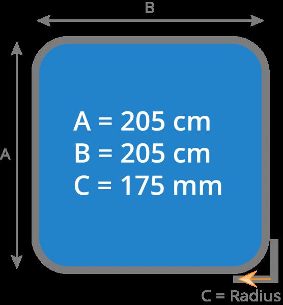 Cover - Isolierabdeckung Whirlpool 205 x 205 cm - Radius 175 mm